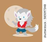 cute werewolf vector... | Shutterstock .eps vector #585097348