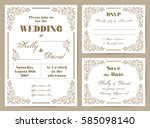 set of wedding cards in retro... | Shutterstock .eps vector #585098140