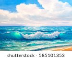 morning on sea  wave ... | Shutterstock . vector #585101353