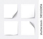 set of white sticky on... | Shutterstock .eps vector #585102856