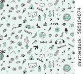 doodle objects pattern | Shutterstock .eps vector #585104074