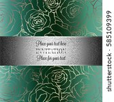 Abstract Background With Roses Luxury Royal Emerald Green And Gold Vintage Frame Victorian Banner Damask Floral Wallpaper Ornaments Invitation Card