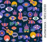bright strange seamless british ... | Shutterstock .eps vector #585115030