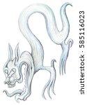 mystical hero  hindu motifs  in ... | Shutterstock . vector #585116023