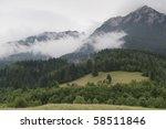 a green forest near a mountain... | Shutterstock . vector #58511846