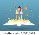 open book with solar system ... | Shutterstock .eps vector #585118684