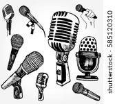 set of microphones hand drawn | Shutterstock .eps vector #585120310