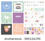 collection of valentines day... | Shutterstock .eps vector #585126190