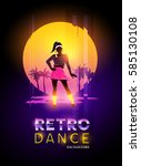 a women dancer against a retro... | Shutterstock .eps vector #585130108