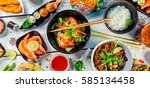 asian food served on white... | Shutterstock . vector #585134458