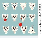 big set cute little polar bear. ... | Shutterstock .eps vector #585135454