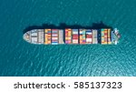 container ship in export and... | Shutterstock . vector #585137323