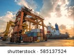 container container ship in... | Shutterstock . vector #585137524