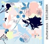 spring retro floral print. silk ... | Shutterstock .eps vector #585138004