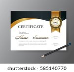 certificate template a4 size... | Shutterstock .eps vector #585140770