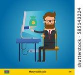 businessman happy to earn money ... | Shutterstock .eps vector #585143224