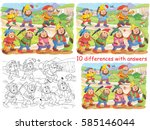 snow white and the seven dwarfs.... | Shutterstock . vector #585146044