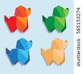 origami dog  little dog origami ... | Shutterstock .eps vector #585153274