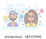 linear flat people faces vector ... | Shutterstock .eps vector #585153940