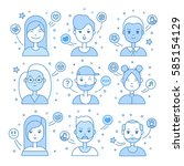 linear flat people faces vector ... | Shutterstock .eps vector #585154129