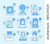linear flat people faces vector ... | Shutterstock .eps vector #585154324