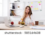 woman has healthy business... | Shutterstock . vector #585164638