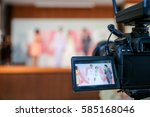 camera show viewfinder image catch motion in wedding ceremony, catch feeling, stopped motion in best memorial day concept.Video Cinema From dslr camera.video  cinema production . - stock photo