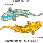 5 Color Koi Fish Vector