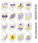 mardi gras greeting cards set.... | Shutterstock .eps vector #585207310