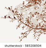 the birds on the oak branches | Shutterstock .eps vector #585208504