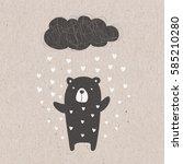 cute bear  on kraft paper...   Shutterstock . vector #585210280