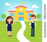 school poster with girl and boy ... | Shutterstock .eps vector #585214354