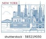 new york attractions. handmade... | Shutterstock .eps vector #585219050