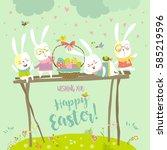 funny bunnies celebrating easter   Shutterstock .eps vector #585219596