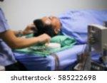 blurred image of nurse take eeg ... | Shutterstock . vector #585222698