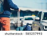 airport taxi. passenger is... | Shutterstock . vector #585257993
