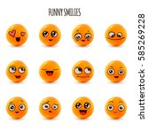 emotions. set of smiley face... | Shutterstock .eps vector #585269228