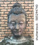 Buddha Head On Brick Wall...