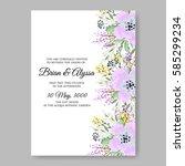 floral wedding invitation | Shutterstock .eps vector #585299234