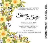 peony floral wedding invitation ... | Shutterstock .eps vector #585307106