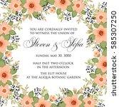 peony floral wedding invitation ... | Shutterstock .eps vector #585307250