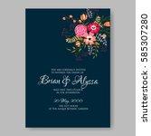 peony floral wedding invitation ... | Shutterstock .eps vector #585307280