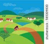 green landscape. freehand drawn ... | Shutterstock .eps vector #585309830