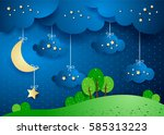 surreal landscape by night with ... | Shutterstock .eps vector #585313223
