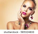 beautiful woman with dark...   Shutterstock . vector #585324833