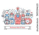business team gathered around... | Shutterstock .eps vector #585334610
