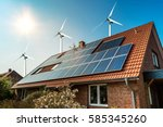 solar panel on a roof of a... | Shutterstock . vector #585345260