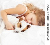 child sleeping with dog. girl... | Shutterstock . vector #585347900