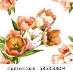 Hand Painting 5 Orange Tulips...