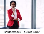 confident businesswoman looking ... | Shutterstock . vector #585356300